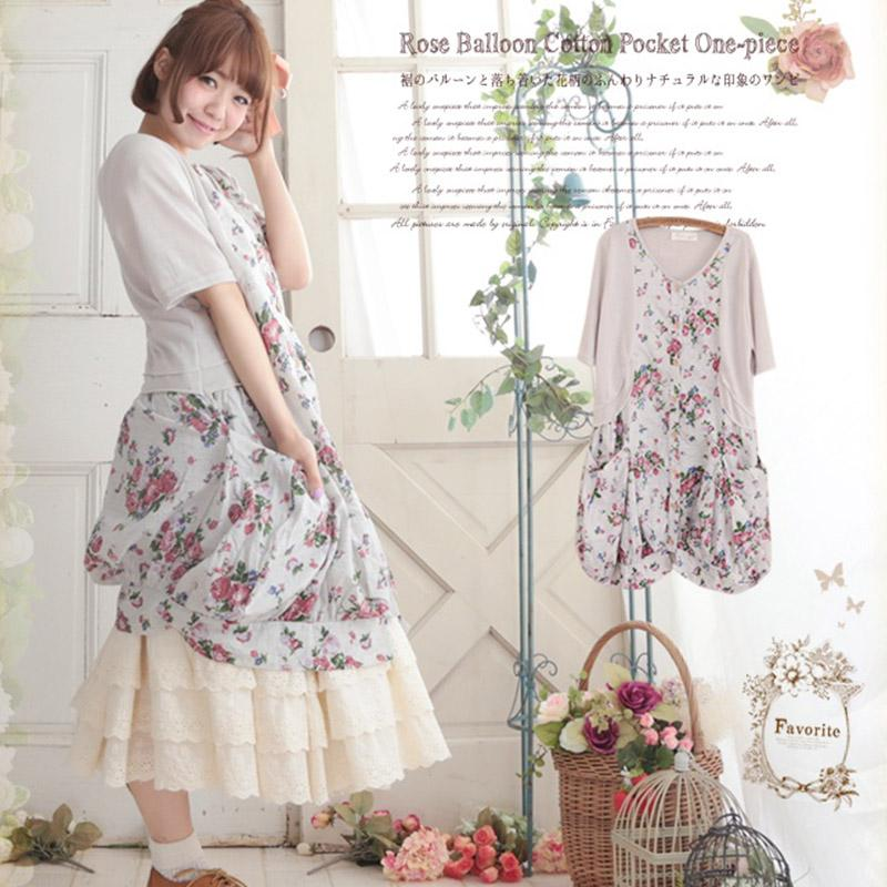 402db14960c67 Summer Mori Girl Sweet Dress Women Harajuku Japanese Floral Printed Half  Sleeves Female Vestido Cotton Kawaii Dress A287