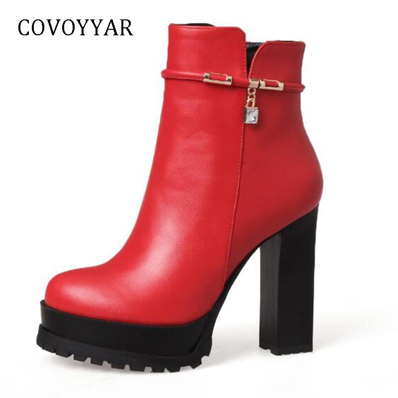 COVOYYAR 2018 Fashion Rhinestone Women Boots Super High Heel Platform Ankle  Boots Side Zip Comfort Lady Black Shoes WBS1116 Ankle Boots Cheap Ankle  Boots ... 283fd023904e