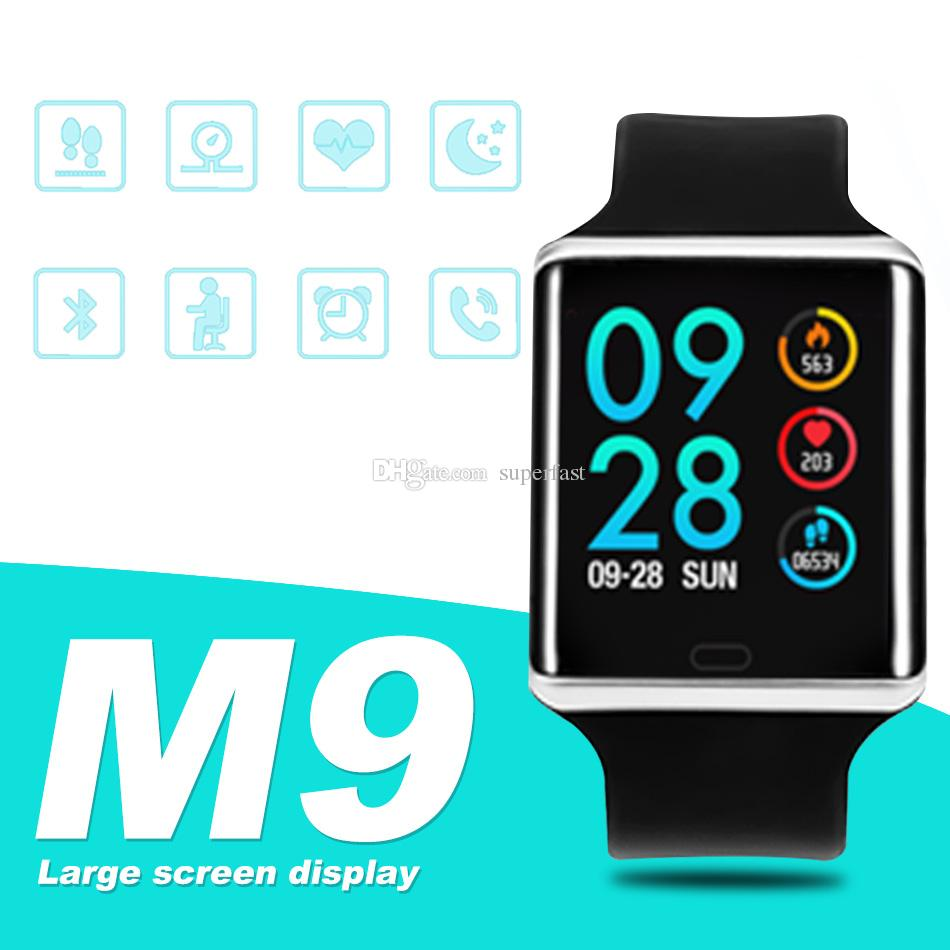 M9 Fitness Tracker Smart Watch Wristband Colorful Touch Screen with Heart Rate Smartwatches for iPhone Android Cellphones PK DZ09 ID 115 U8
