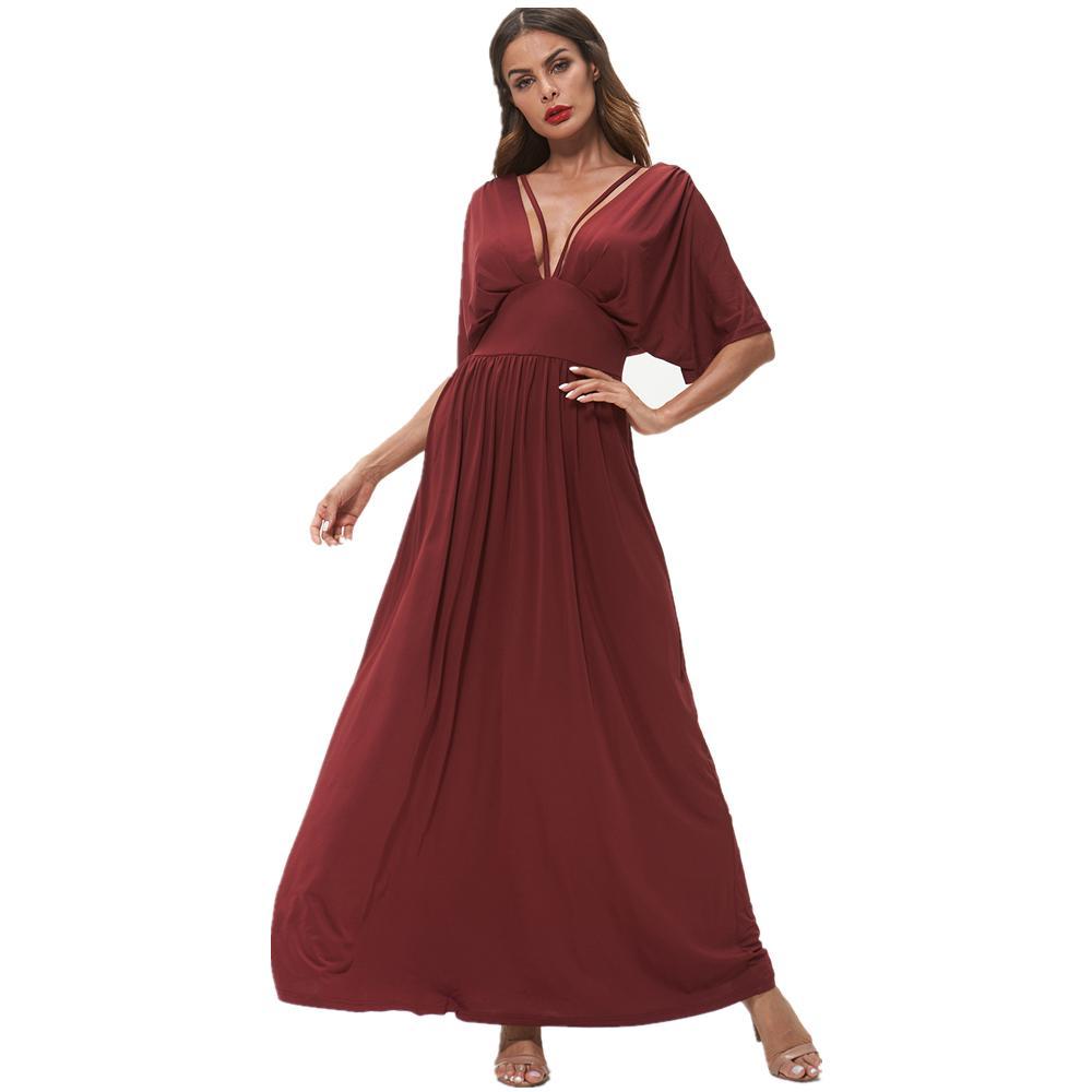 3dacd973bb2 Kenancy Sexy V Neck Short Sleeves High Waist Party Vestidos ELegant Wine  Red Maxi Dress Solid Women Long Dress Formal Robe Sequin Dresses Sweater  Dresses ...