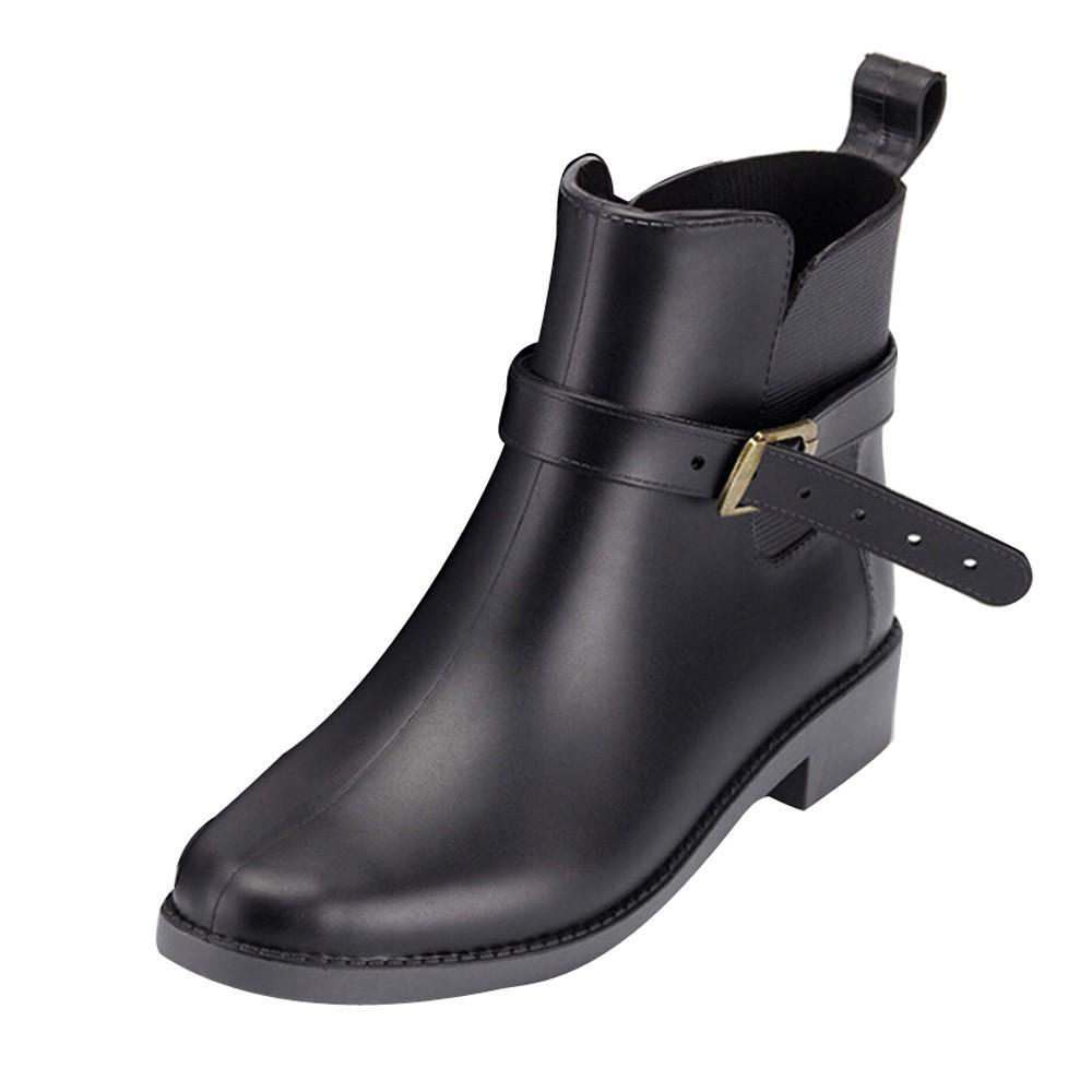 d04db96cab48a8 Acheter MUQGEW Britannique Style Femmes Chelsea Jardin De Travail Pluie  Bottes À La Cheville Casual Chaussures Antidérapant Bottes D'eau Simple  Style # 1207 ...