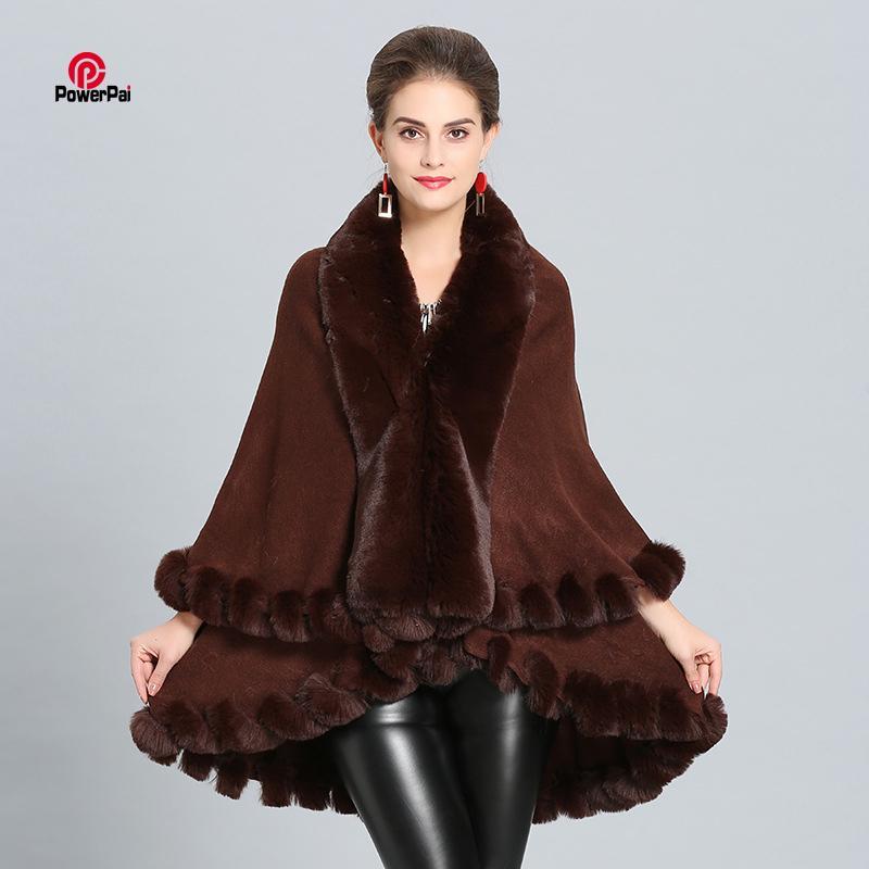 Großhandel Frauen Herbst Winter Fuchspelz Mantel Poncho Cape