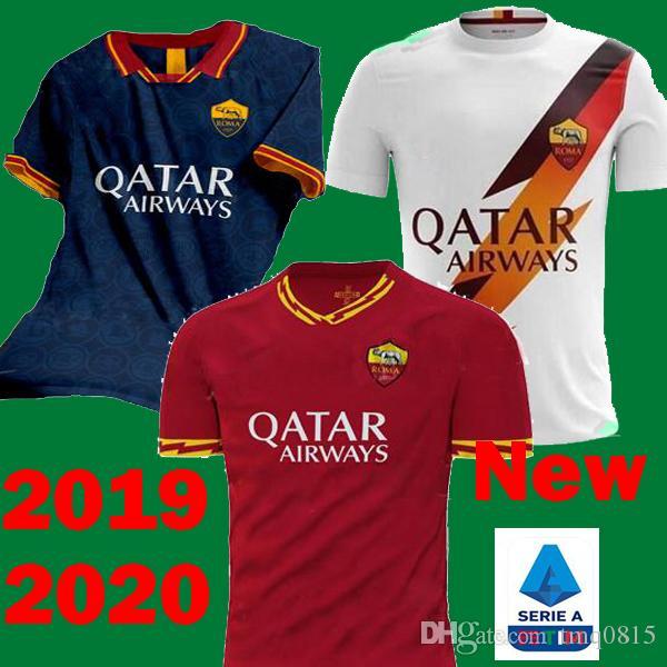 170f2f89c26 2019 2019 2020 AS Roma Soccer Jerseys TOTTI DZEKO EL SHAARAWY DE ROSSI  Football Shirts 19 20 Maillots Rome Third Blue PEROTTI PASTORE Maillots  From Tmq0815, ...
