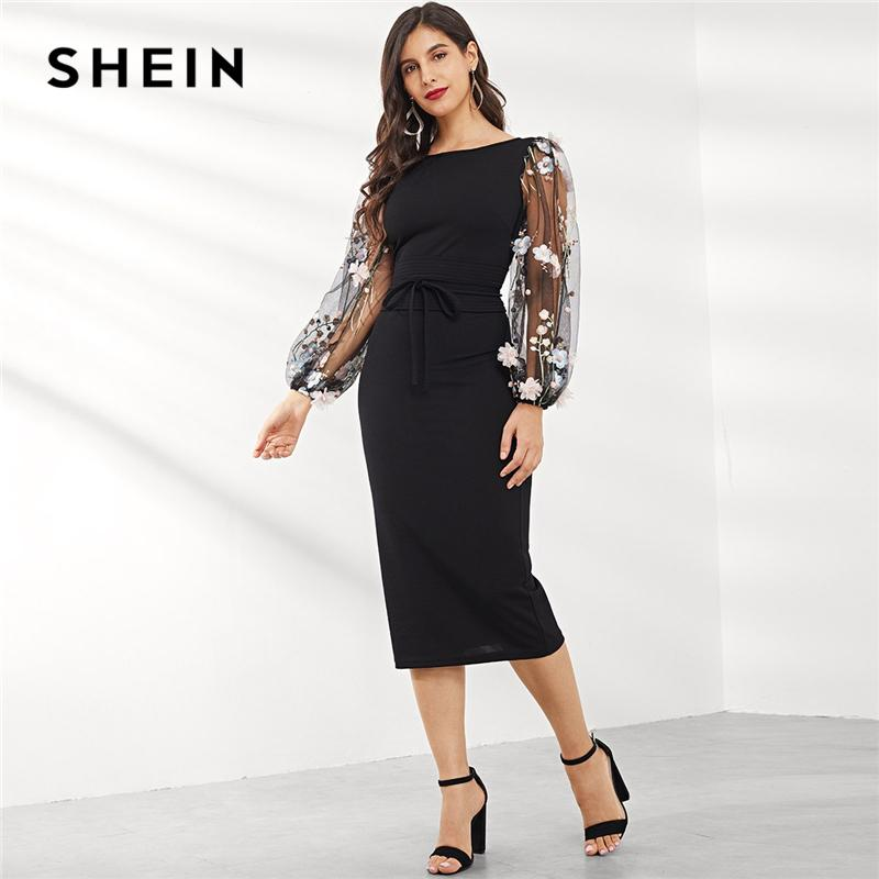 160825432e 2019 Shein Black Applique Embroidered Mesh Sleeve Pencil Dress Women Autumn  Elegant Casual Boat Neck Bishop Sleeve Pencil Dresses T190409 From  Zhengrui05, ...