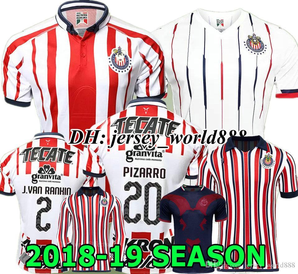 A.PULIDO O.PINEDA 18 19 Chivas De Guadalajara Home Soccer Jersey ... 808fb9d44