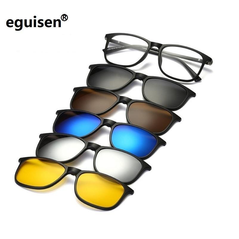 9bb6cf2137 Compre Nueva Marca 5 + 1 Retro Gafas De Sol Polarizadas Para Gafas De  Miopía Con Montura De Marco Para Hombres, Mujeres Y Cinco Con Imán, Con  Montura De ...