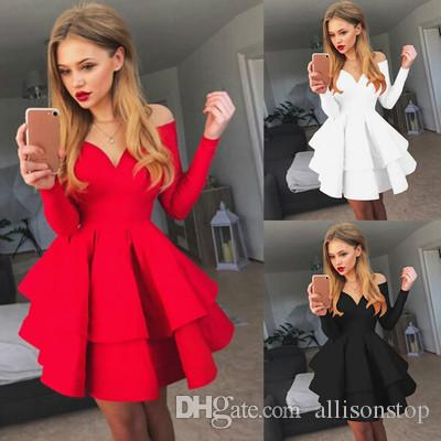 Women Elegant Solid Dresses Evening Party Night Club V-neck Dresses for Women Off the Shoulder Long Sleeve Ruffle Princess Skirt Black Red