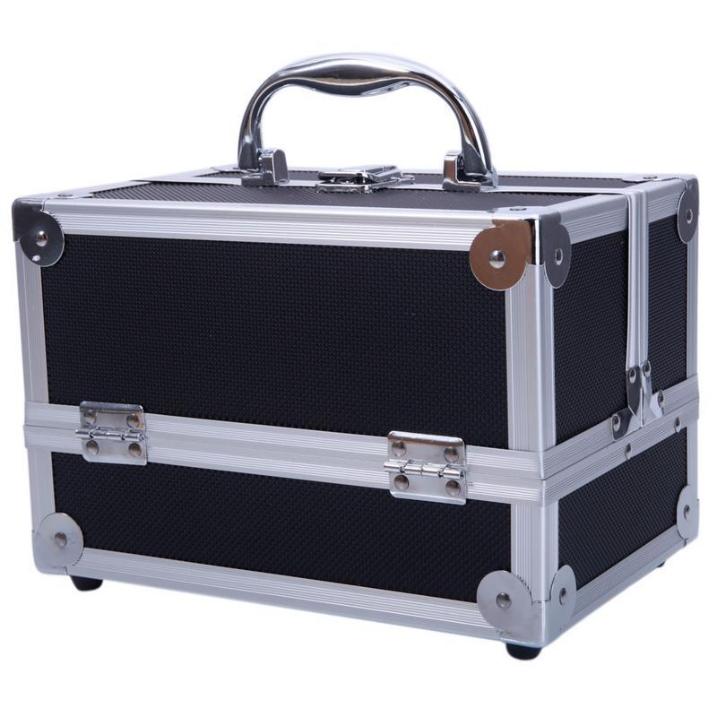 Women Professional Aluminum Makeup Case Portable Travel Jewelry Train Case  Cosmetic Organizer Case Box With Mirror Beauty