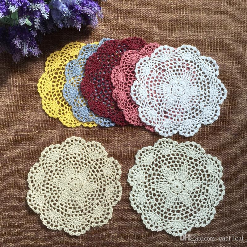 Wholesale 20cm round cotton crochet lace doilies fabric felt as innovative item for dinning table pad coasters mat