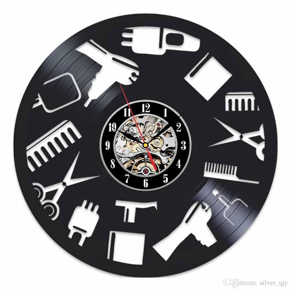 84dea79d3e3 Relógio De Parede Preto Clássico Velho Registro De Vinil Retro Barbeiro  Salão De Beleza Do Cabelo Clássico Relógios De Parede Engrenagem Relógio  Rosto ...