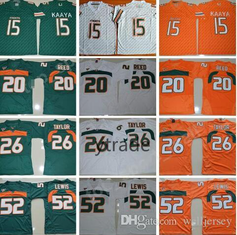 NCAA Brad Kaaya Maillots Miami Hurricanes College Football 20 Ed Reed 52 Ray Lewis Jersey ACC Blanc Vert Orange 26 Sean Taylor S-3XL