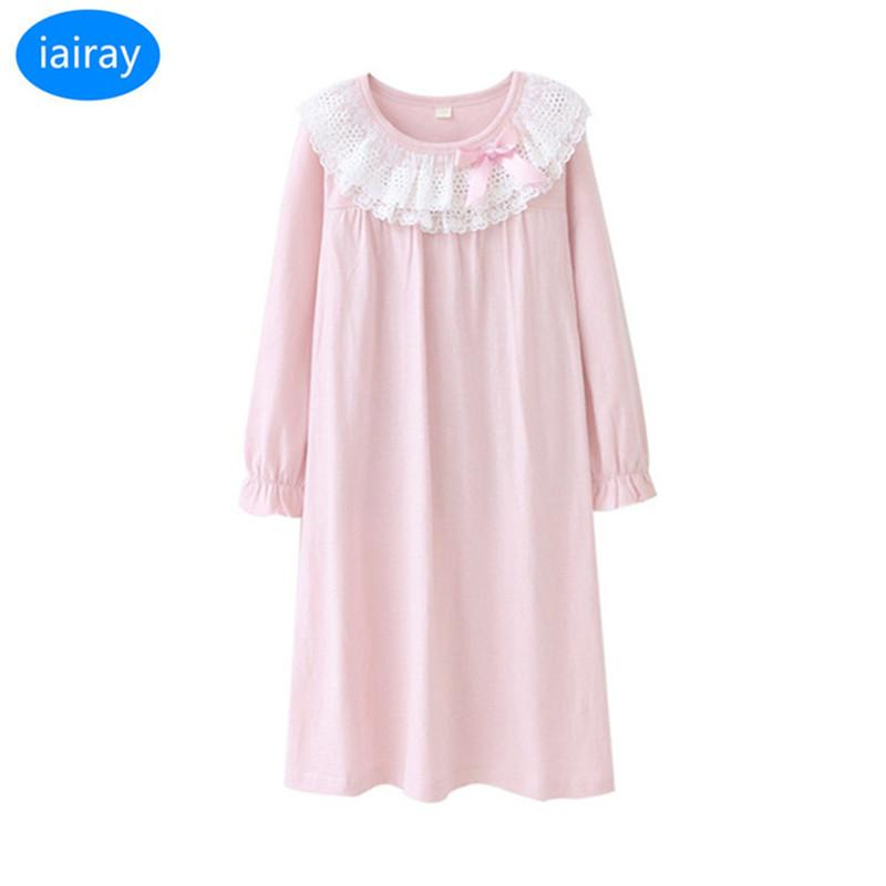 iairay children pajamas for girls spring autumn long sleeve cotton fabric girls nightgown girl night dress pink lace nightgowns