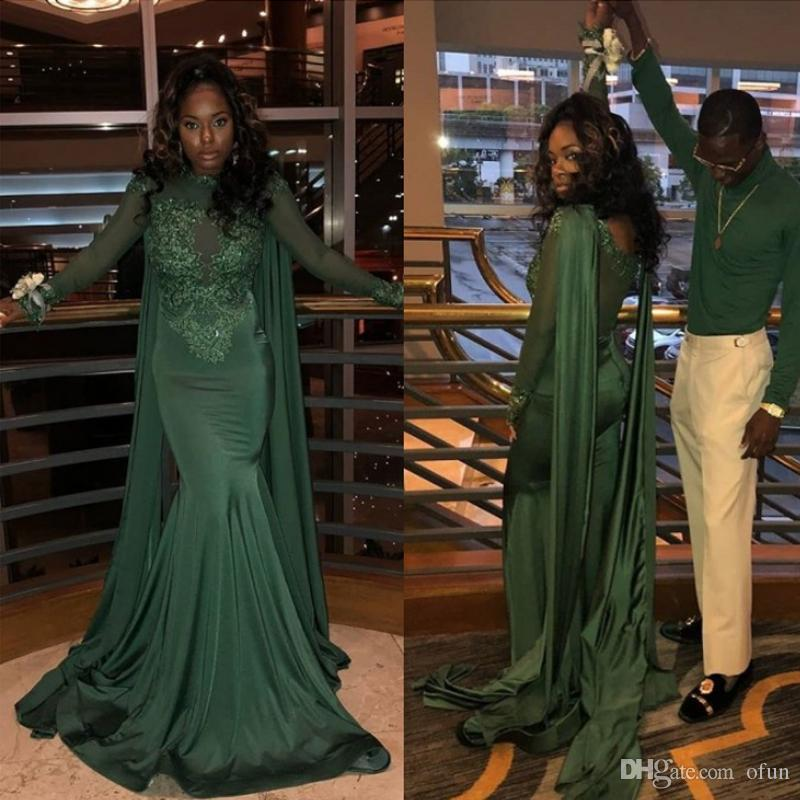 1716cd3fe71 Elegant Green Long Sleeves Mermaid Prom Dresses Jewel Neck Lace Appliques  Zipper Long Black Girls Evening Dresses With Wrap The Perfect Prom Dress  Top Prom ...