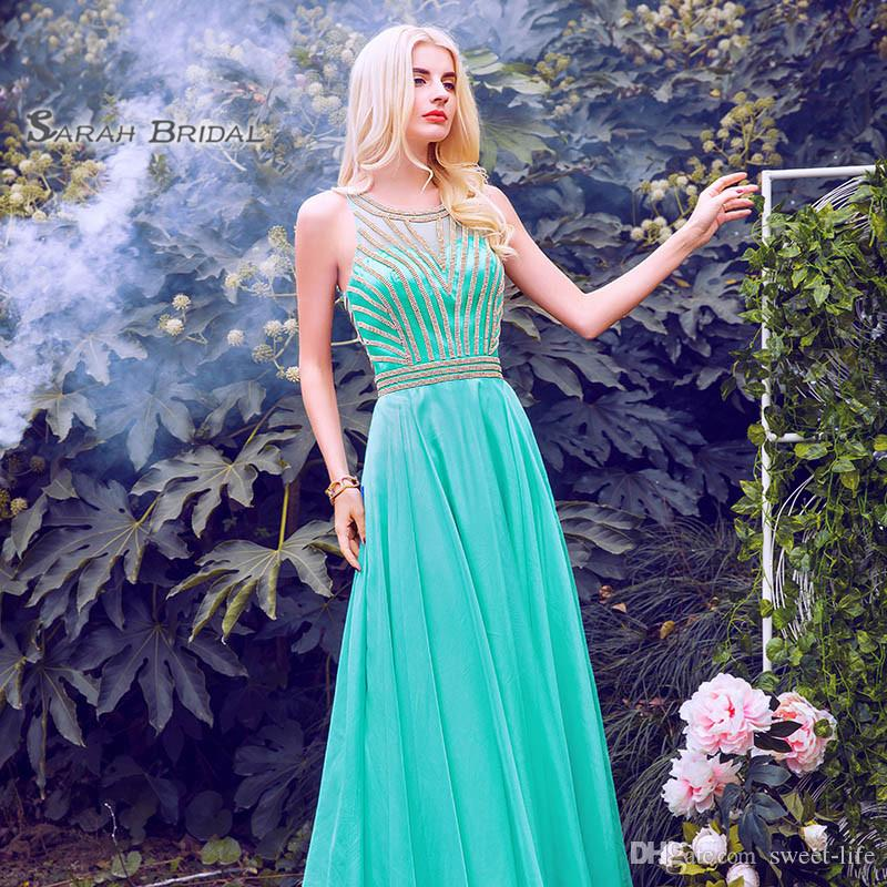 2019 Green Elegant Beads A-line Prom Dresses Jewel Satin Zipper Back Sleeveless Formal Evening Gown LX411