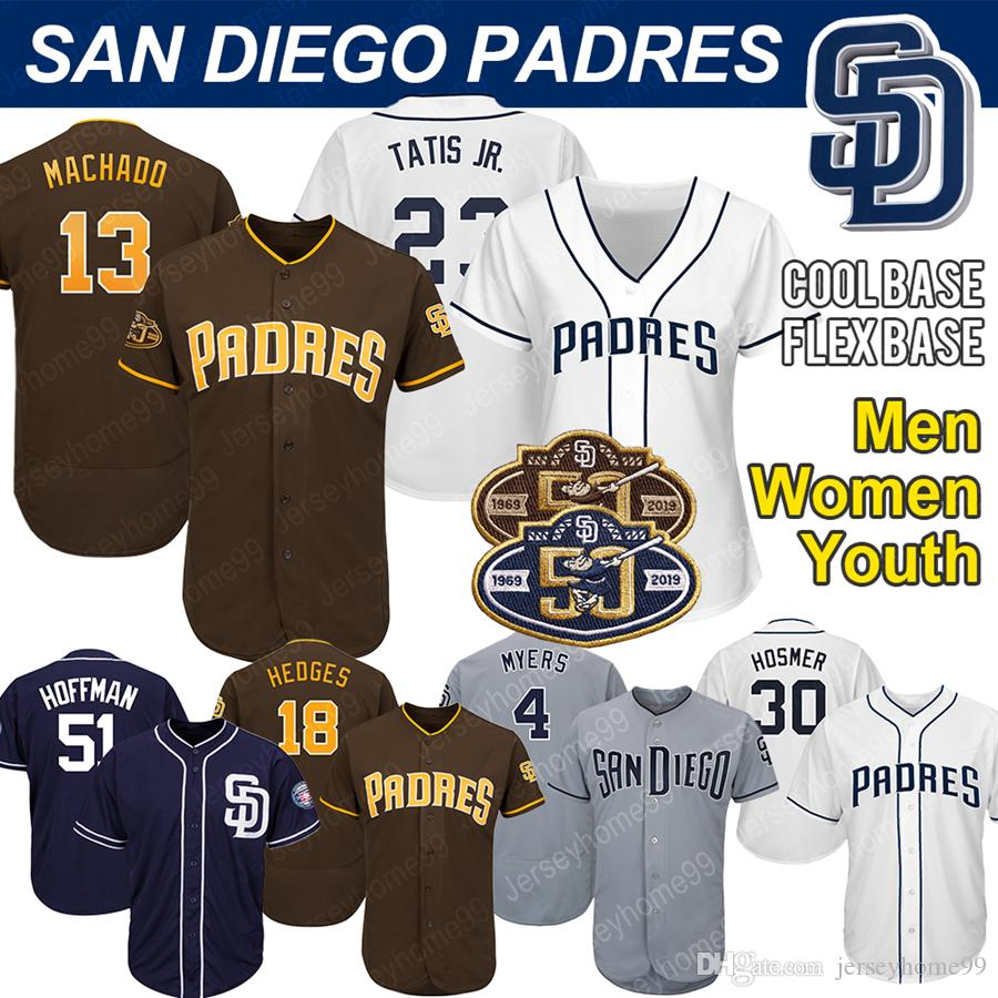 official photos 23eb1 43030 San Diego Custom Padres Jerseys Manny Machado Fernando Tatis Jr. 19 Tony  Gwynn 30 Eric Hosmer Franchy Cordero Jersey