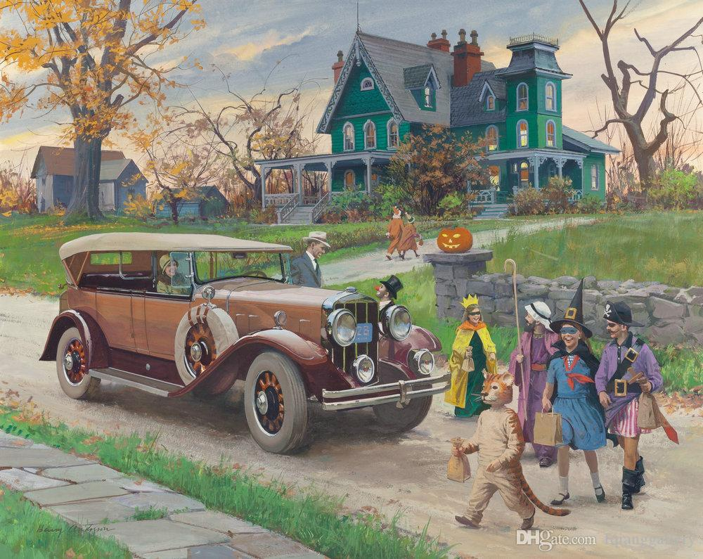 2019 classic old car nostalgic landscape oil painting reproduction