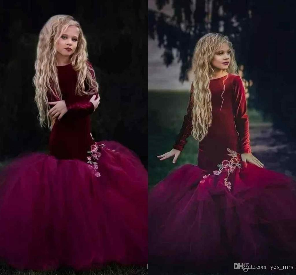 db2d607e37c 2019 New Lovely Burgundy Girls Pageant Dresses Velvet Appliques Long  Sleeves Mermaid Ruffles Floor Length Flower Girls Dress Birthday Gowns  Easter Dresses ...