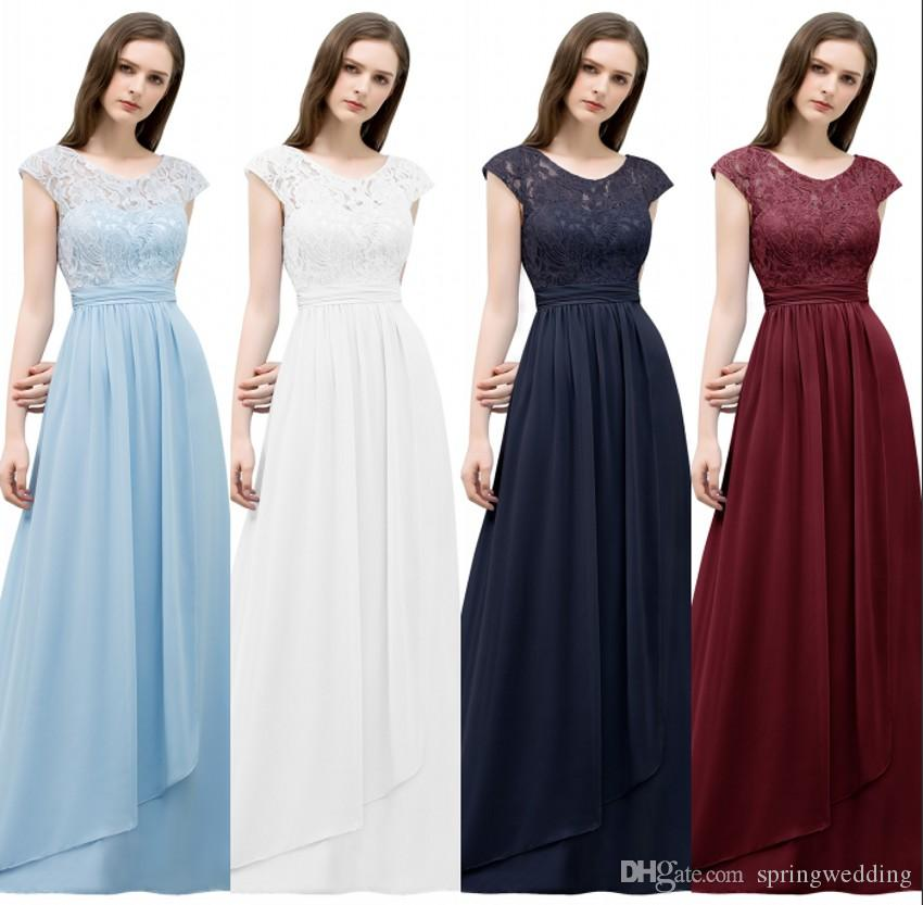c98630d38d Light Sky Blue A Line Lace Chiffon Bridesmaid Dresses Long 2019 Sleeveless  Long Prom Evening Party Gowns Cheap Robes CPS772 Bridesmaid Dresses Colors  ...