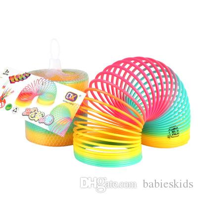 Protean Colorful Rainbow Circle Folding Plastic Spring Coil Children Creative Educational Toys Rainbow Spring Classic Intelligence Toys