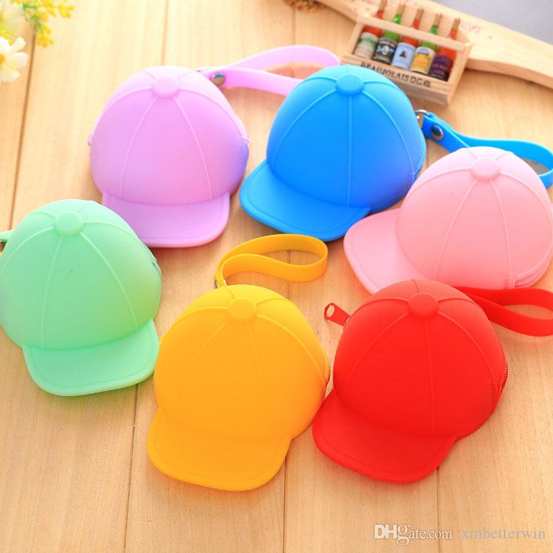 30PCS / LOT Portable Silicone Coin Purses Cute Hat Coin Bag Zipper Candy Pure Color Wallets Key Pouch