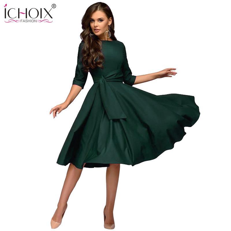 abca78a2dc44 2019 Ichoix Women Clothes 2019 Fashion Autumn Winter Dress Sexy Party Dress  Elegant Tube Long Sleeve Ladies Dresses Vestidos De Festa Y19041801 From ...