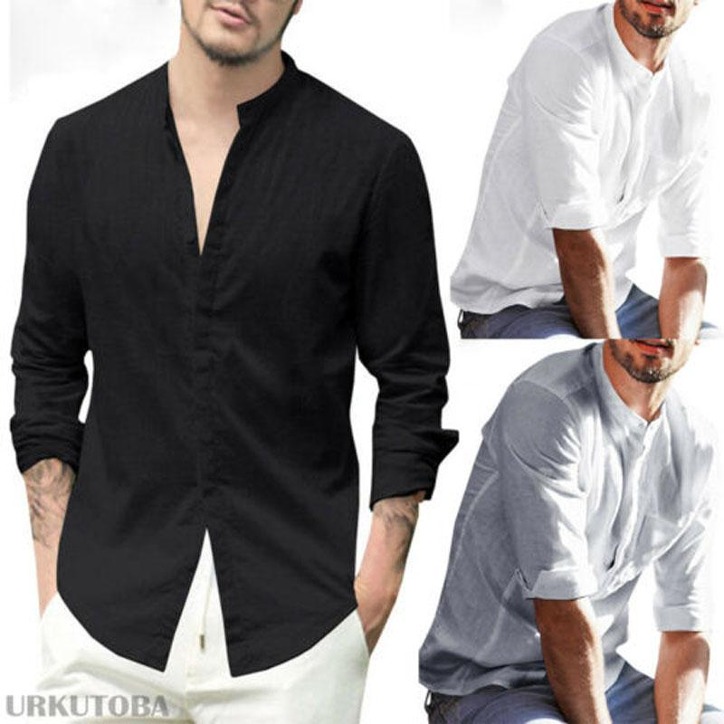 db002760f 2019 2019 New Brand Fashion Summer Men'S Linen Long Sleeve And Simple V  Neck Shirt Loose Casual Shirts Tops New From Fullcolor, $34.09 | DHgate.Com