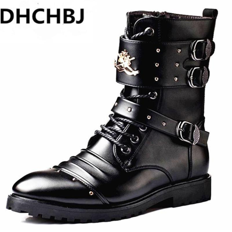 Men Black Leather Motorcycle Boots Brown 2018 Autumn Winter Brand
