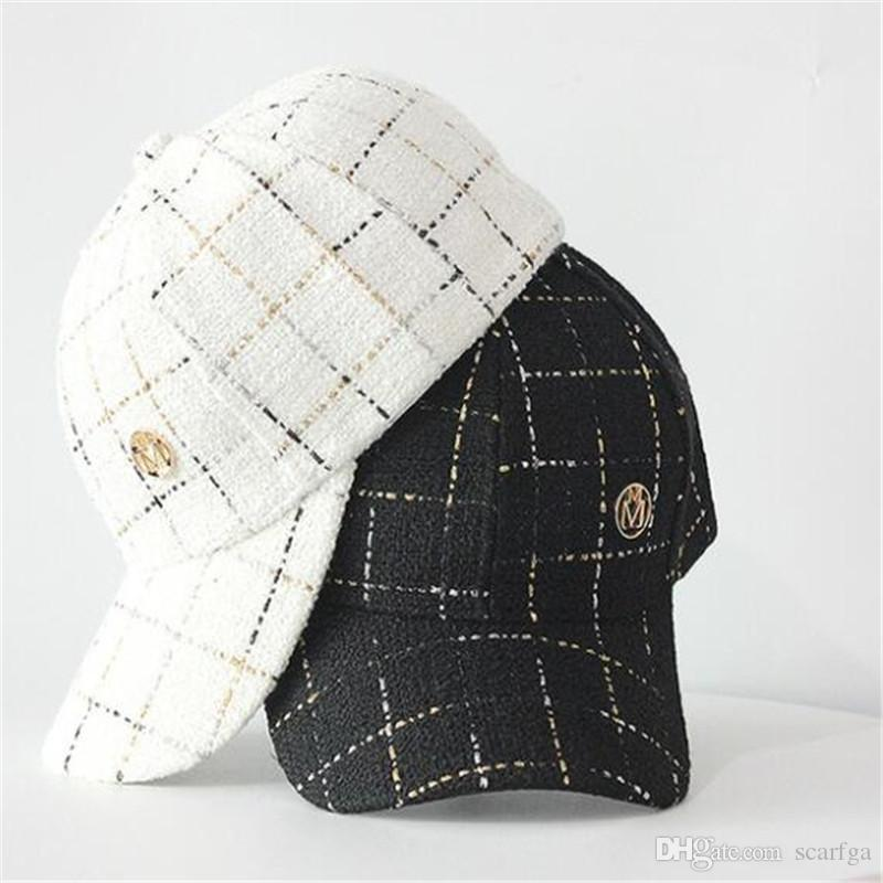 Women Winter Fall Ball Caps Fashion Plaid Design Female Casual Hats Trendy Adjustable Lady Luxury Cap