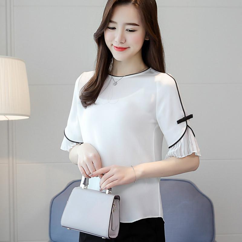 женские рубашки женские топы и блузки Silk blusas mujer de moda 2019 новые свободные шею с короткими рукавами рубашки дикий прилив 2615 50