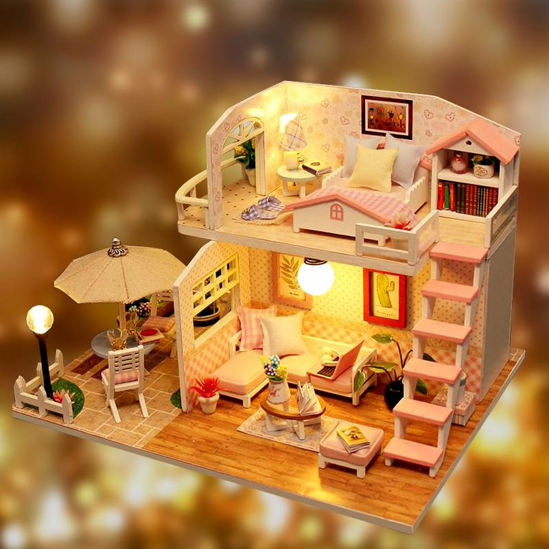 DIY Miniature DollHouse With LED Light Furnitures 3D Wooden Doll House Model Toys for Girls Valentine's Day Gift Pink Loft (S8