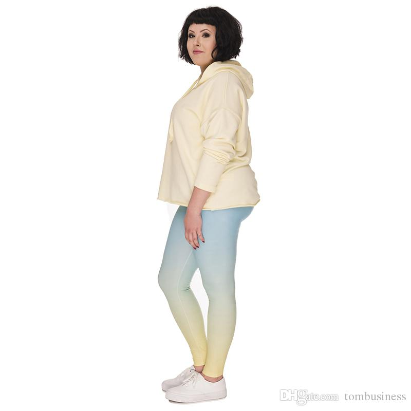066340aa4612c Girls Plus Size Leggings Ombre Yellow 3D Graphic Full Print Full Length  Pants Women Workout Jeggings Lady Sports Skinny Pencil Fit Y45760 UK 2019  From ...