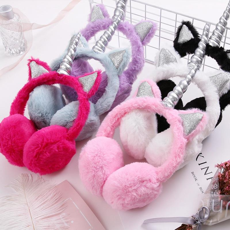 Kids Winter Plush Earmuffs Cartoon Rainbow Unicorn Ear Warmers Fluffy Cute Cat Ear Muffs