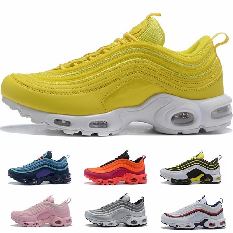 sports shoes 15321 5c34c New Designer 97 Plus Tn Triple White Black Pink Running Shoes OG Metallic  Gold Silver Bullet Mens Trainers 97s Women Sports Sneakers