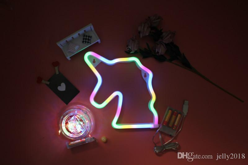 18 Mode Powered Unicorn Neon Lamp Led Strip Light Bulb Light Neon Lights  Bedroom Decoration Marquee Neon Signs Home Ornaments