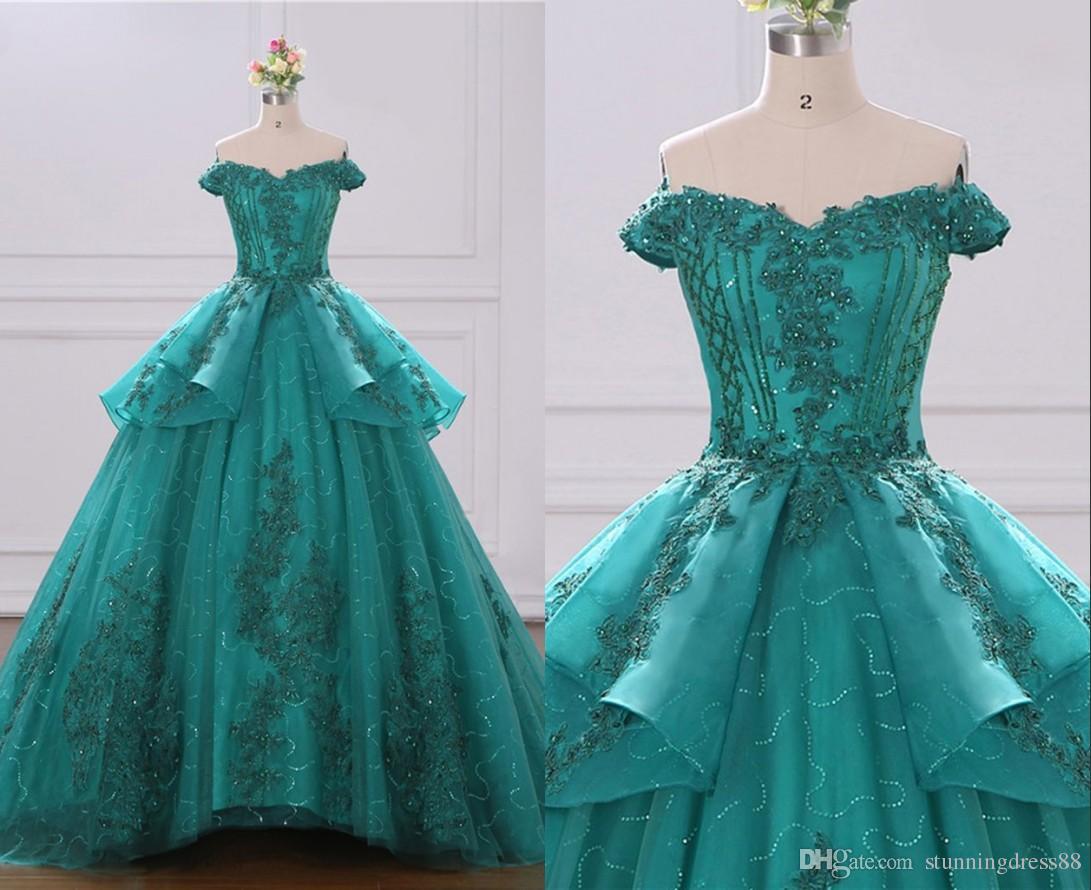 Classy Teal Off Shoulder 2020 Quinceanera Prom Dresses