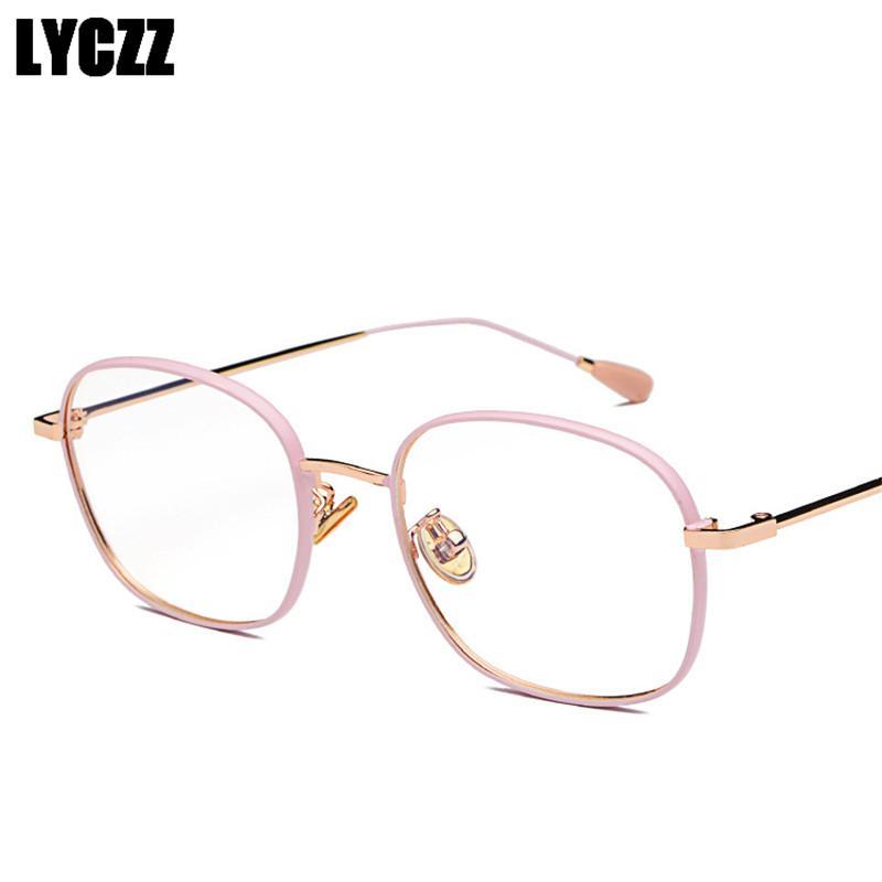 Satın Al Lyczz Kare Kadın Erkek Gözlük Optik Gözlük çerçevesi şeffaf