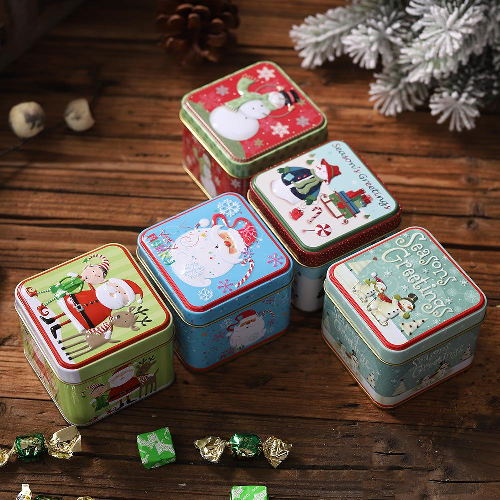 Christmas Gift Box Package Tin Box Wedding Party Candy Baking Cookies Biscuit Case Gift Container Christmas Decoration for Home