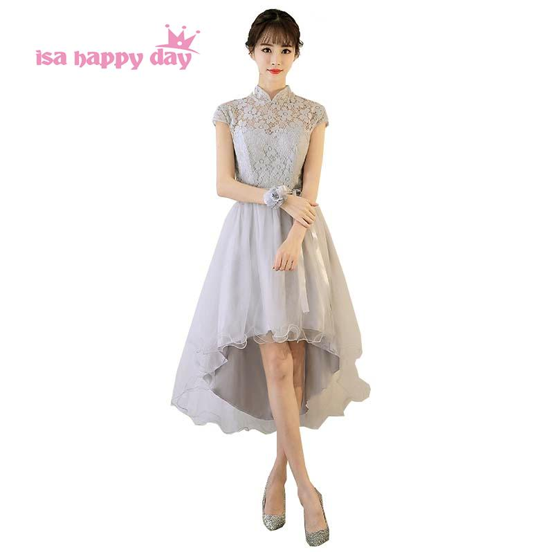 elegant party dresses sexy high neck short front for long back high low gray bridesmaid dress the girls made in china