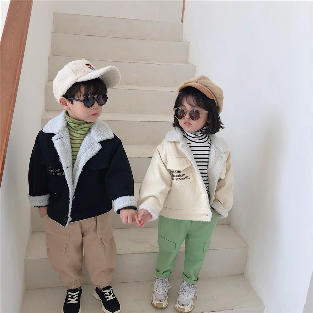 Winter New Arrival korean style cotton denim matching fur thickened jacket for fashion cute sweet baby girls and boys