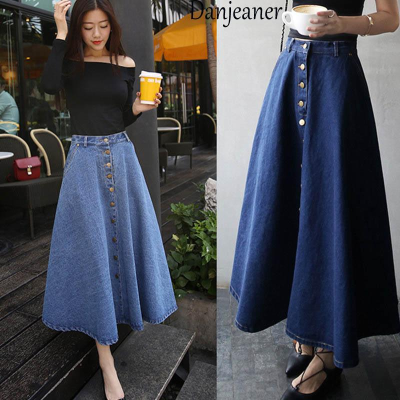 Danjeaner 2018 Korean Style Retro Denim Women Solid Color Long Skirt High Waist Female Big Hem Casual Button Jean Skirts