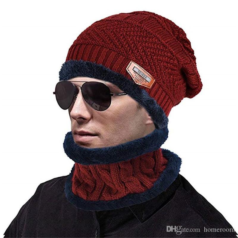 Winter Beanie Hat Scarf Set Slouch Warm Knit Hat Neck Warmer Scarf 7468a5886202