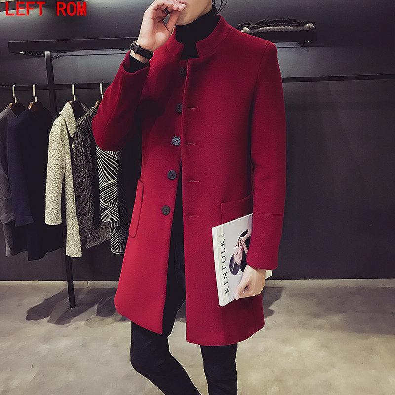 new style 56f24 71351 Cappotti di lana da uomo Giacche Invernali Giacca di cashmere Uomo Lungo  tratto Cappotto monopetto Colletto rovesciato Cappotto di lana casual ...
