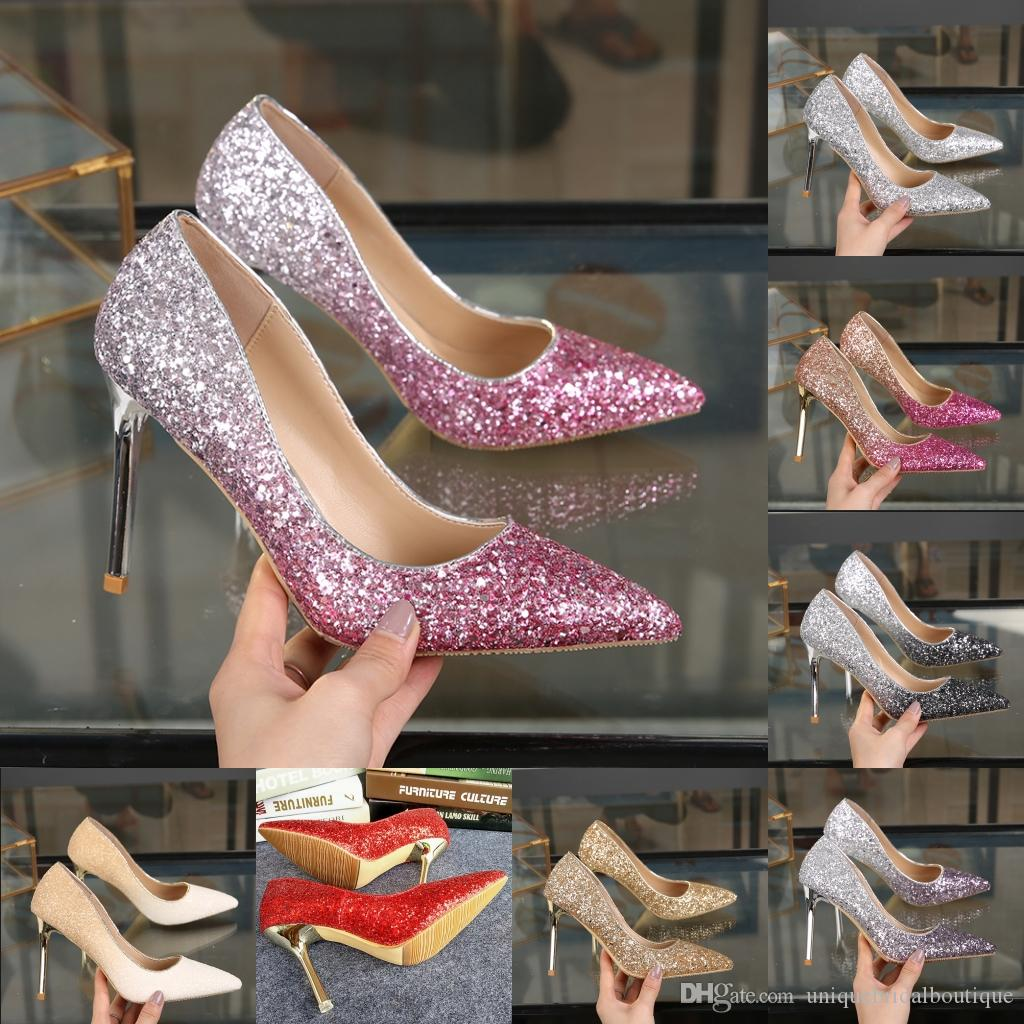 29f5922978c Blingbling Ombre Wedding Dresses 2019 Celebrity Inspired Formal Wear Shoes  High Heels 9cm 7cm 5cm Gold Silver Gray Purple Sequins Prom Shoes Belle  Wedding ...