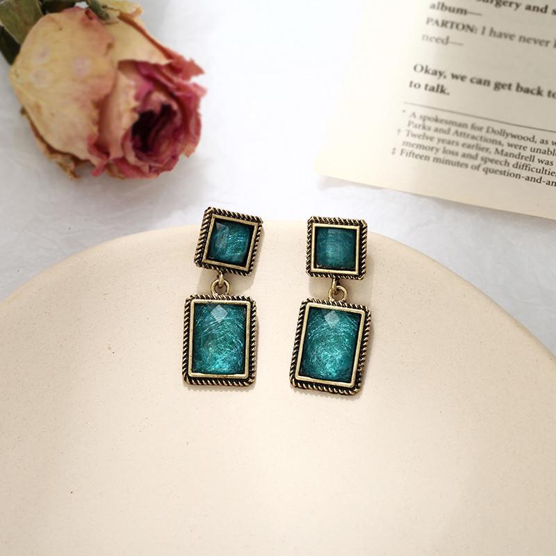 Fashion Vintage Antique Gold Geometric Drop Earrings Ethnic Earrings For Women Bohemian Jewelry Boho Green Crystal Brincos
