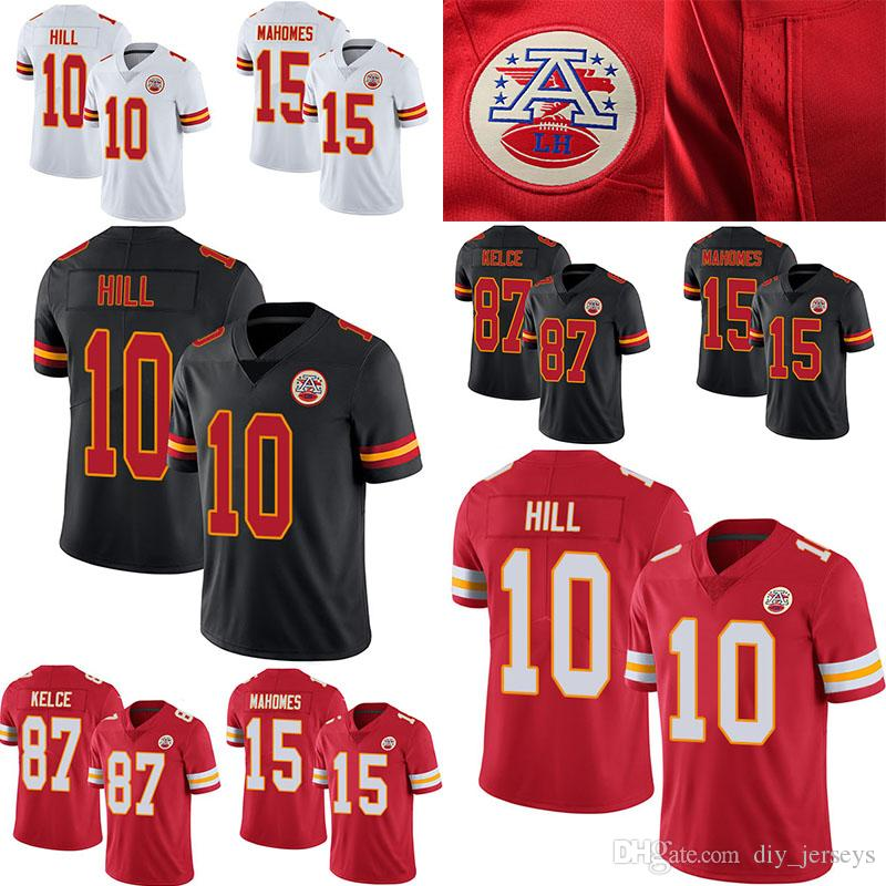 finest selection 1720d 9eb06 Cheap Kansas 10 Hill City 15 Mahomes Chiefs 87 Kelce Black Red White Men s  Stitched Limited Jersey