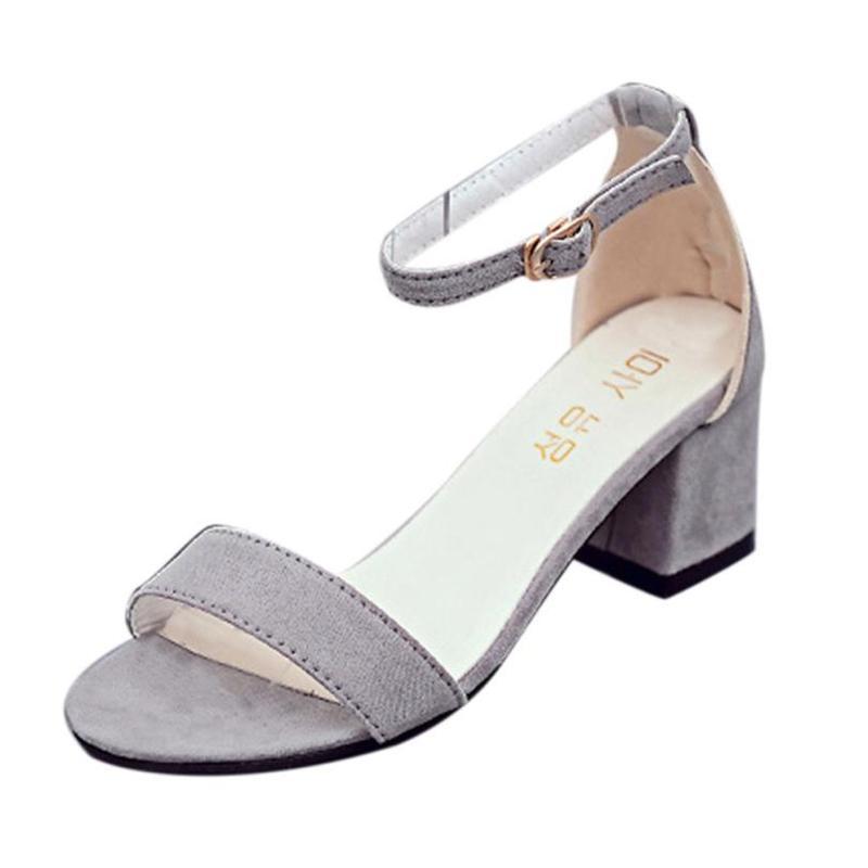 fdbd6a0c Compre 2019 Zapatos De Vestir Mujer Sandalias De Tacón Alto De Las Mujeres  De Una Sola Banda De Tacón Grueso Sandalia Con Correa De Tobillo Sandalias  De ...