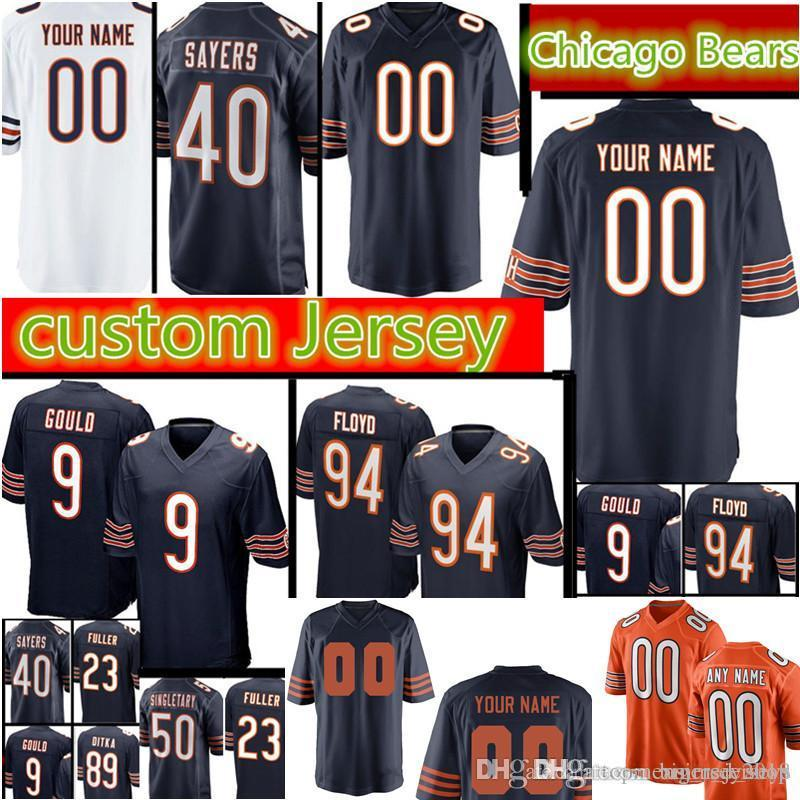 5b9346a90d4 Chicago Bears Custom Jersey Men S 40 Gale Sayers 23 Kyle Fuller 9 Robbie  Gould 89 Ditka 94 Floyd 75 Long 50 Mike Singletary Jerseys UK 2019 From ...