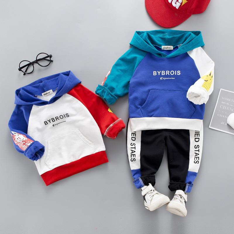 0-4 years High quality boy girl clothing set 2019 new spring active patchwork kid suit children baby clothing Hoodies+pant 2pcs