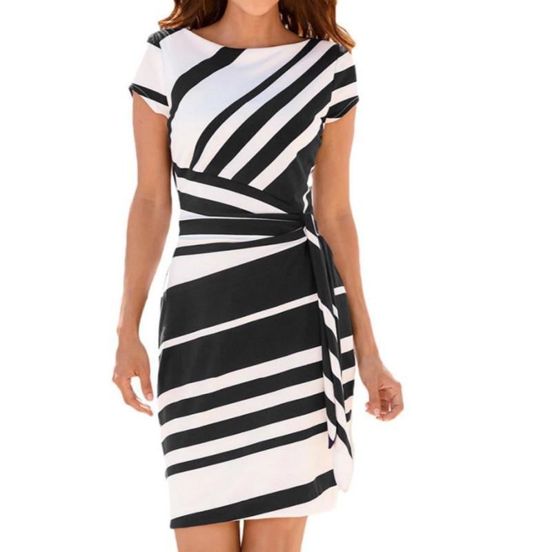6d018c36d1 Compre Vestido Elegante De Las Mujeres De Moda De Verano De Manga Corta O  Cuello Hasta La Rodilla Vestidos Sueltos Con Cinturón OL Vestido De Trabajo  2019 A ...