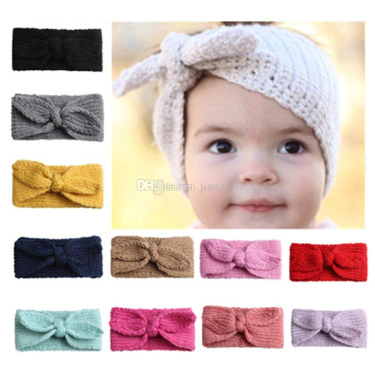 e37ad0ae6 Baby Wool Knitted Headband Hair Band Ski Hat Earmuffs Winter Warm Girls  Photography Prop Soft Turban Headwrap Knot Bow With Rabbit Ear